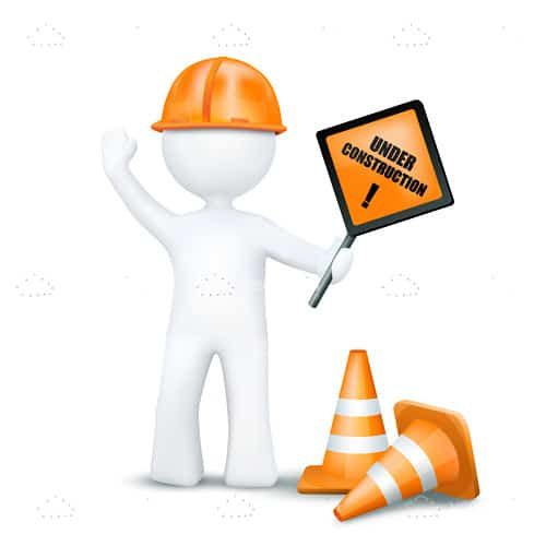 Abstract 3D Construction Worker with Sign