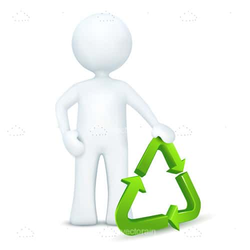 3D White Man Holding Recycling Logo