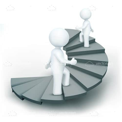 Pair of 3D Humans Climbing Spiral Stairs