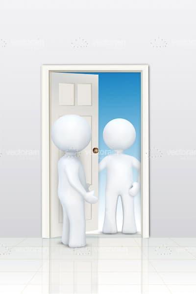 3D Figurines Talking at the Door