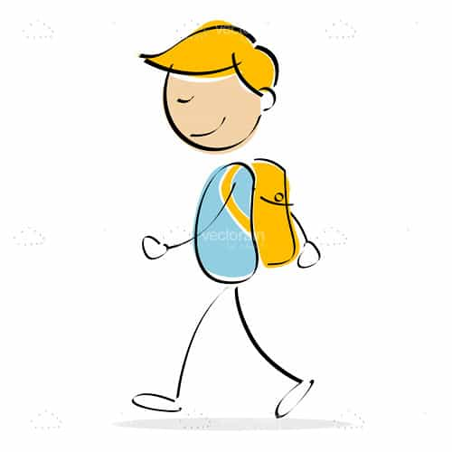 Abstract Boy with Backpack in Sketch Style