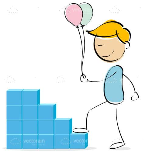 Abstract Boy with Balloons Climbing Stairs