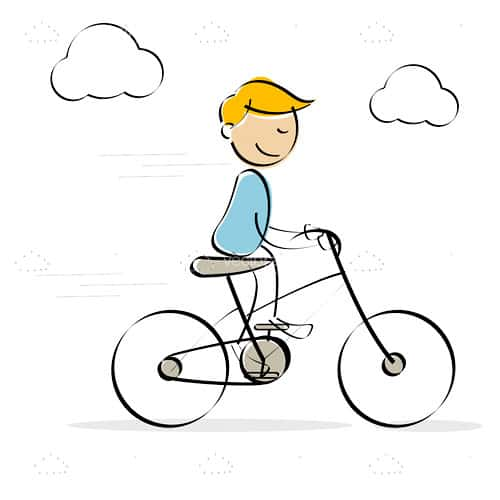 Abstract Boy Riding Bike in Sketch Style
