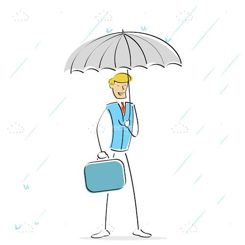 Abstract Businessman with Umbrella Under the Rain