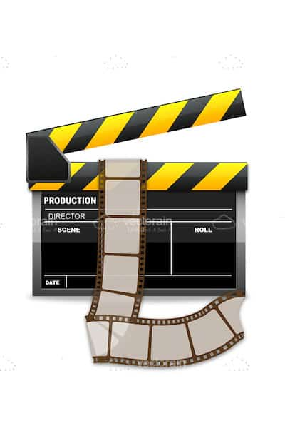 Glossy Clapperboard with Film
