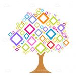 Abstract Tree with Colorful Square Leaves