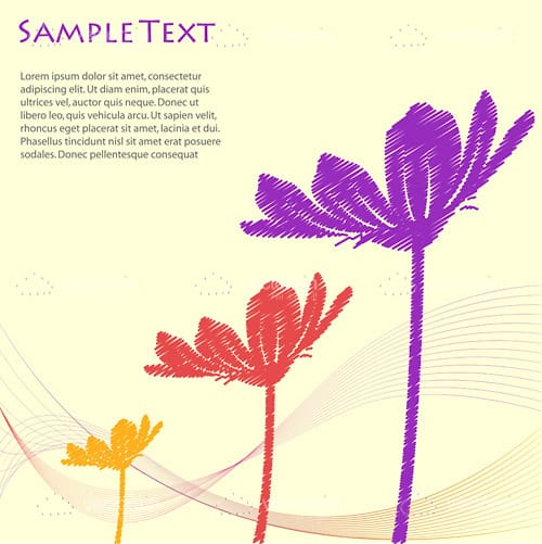 Abstract Flowers in Paint Style with Sample Text