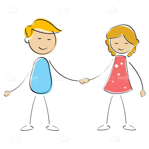 Illustrated Boy and Girl Hand Holding