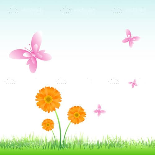 Natural Scene with Flowers and Butterflies
