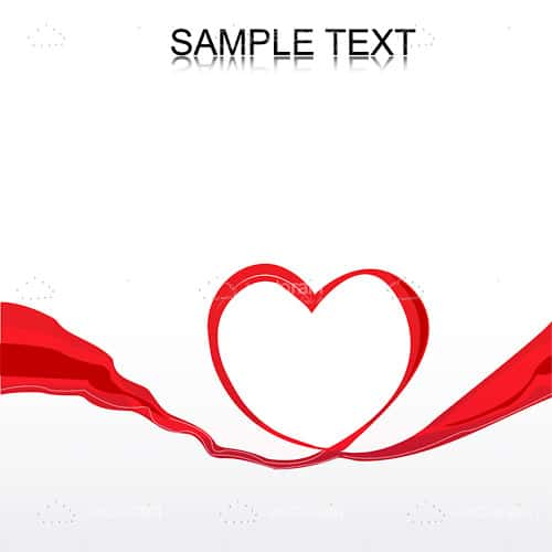 Red Ribbon Forming Heart with Sample Text