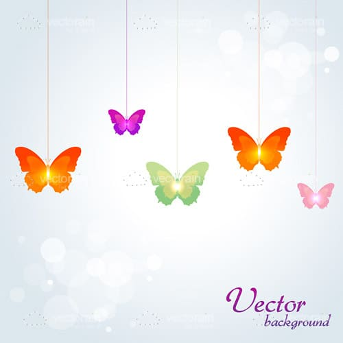 Beautiful Background with Colorful Butterflies and Sample Text