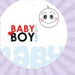 Baby Boy Text with Abstract Baby Face and Striped Background