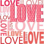 Love Word Collage in Pink