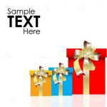 Colorful Gift Boxes with Ribbons and Sample Text
