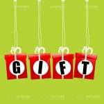 Abstract Lettered Gift Boxes on Green Background