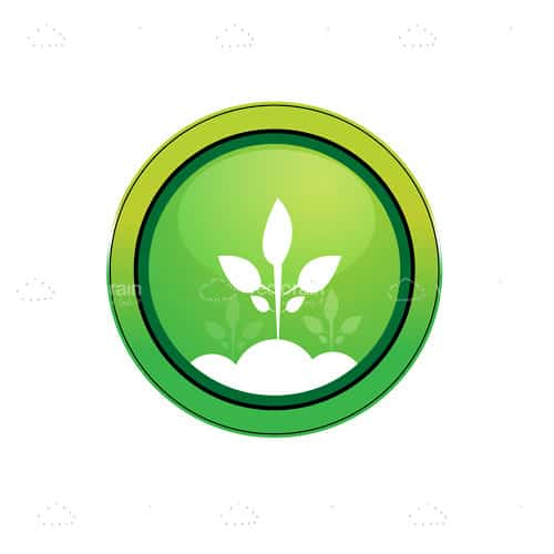 Round Green Button with Abstract Plant Icon