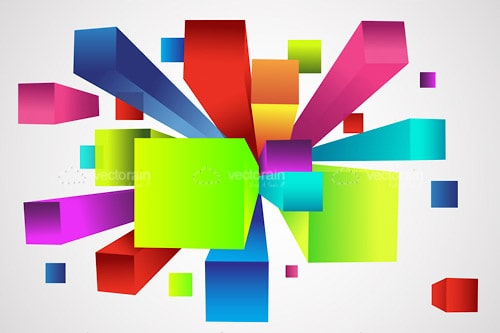 Abstract Background with Colorful Cubes in Motion Style