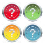 Set of glossy colorful question marks