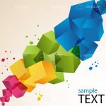 Abstract Geometric Background with Multicolor Cubes and Sample Text