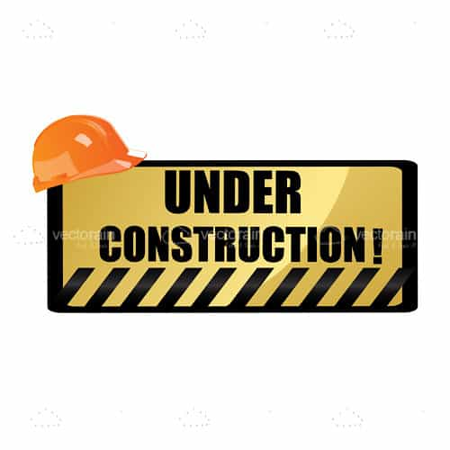 Under Construction Sign with Orange Hardhat