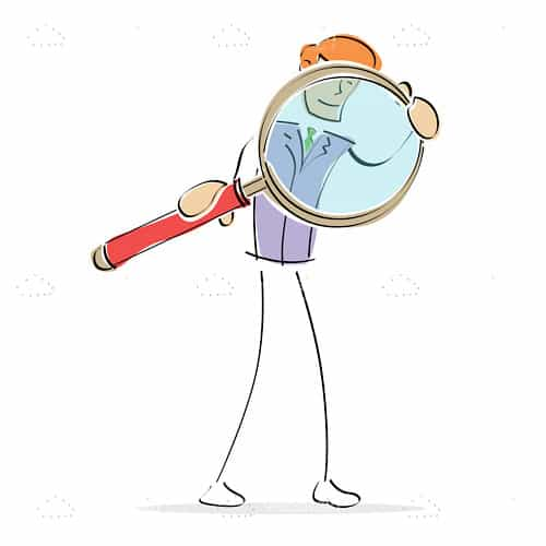 Illustrated Man with Giant Magnifying Glass