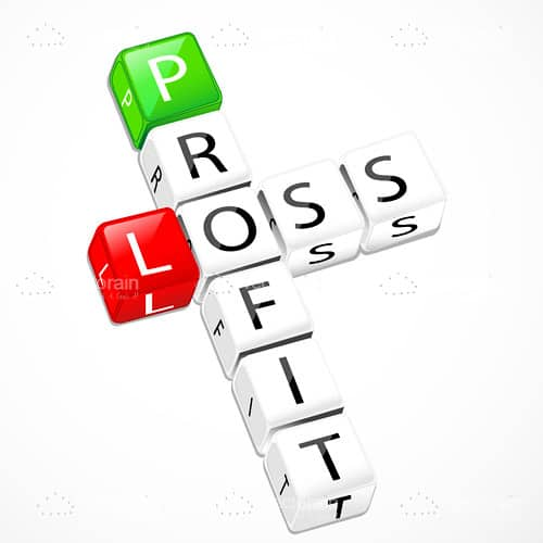 Profit and Loss Crossword Text in Letter Cubes