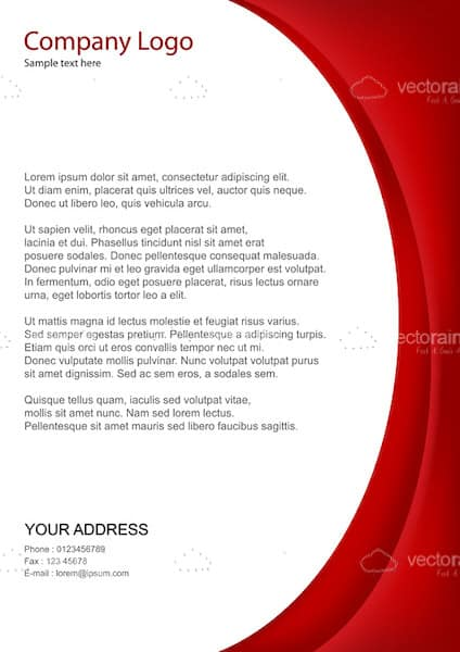 Business Text Template with Red Side Border and Sample Text