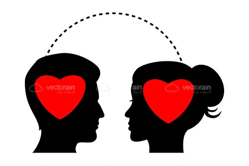 Silhouette of Man and Woman Profiles with Hearts Inside