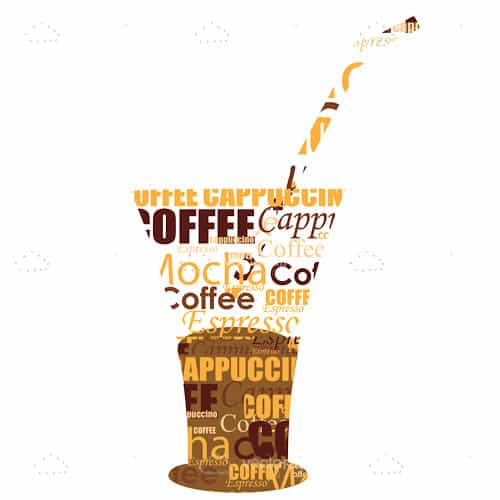 Cold Coffee Cup in Coffee Text Word Collage