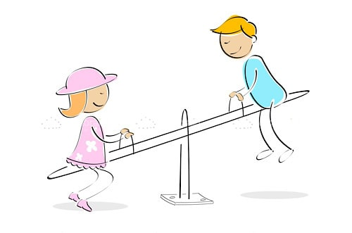 Boy and Girl on Seesaw in Hand-drawn Style