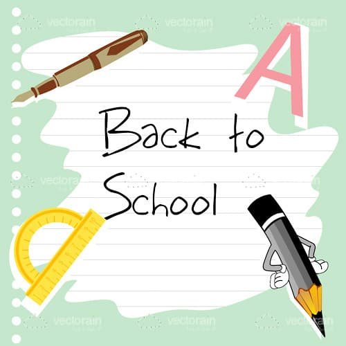 Back to School Text with School Related Items