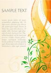 Orange and Green Floral Background with Sample Text