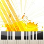 Piano Keys Band with Floral Grungy Background