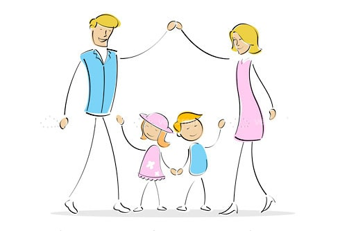 Illustrated Family Holding Hands