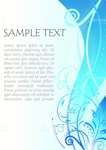 Abstract Blue Floral Background with Sample Text