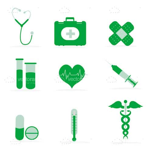 Green Medical Icons 9 Pack
