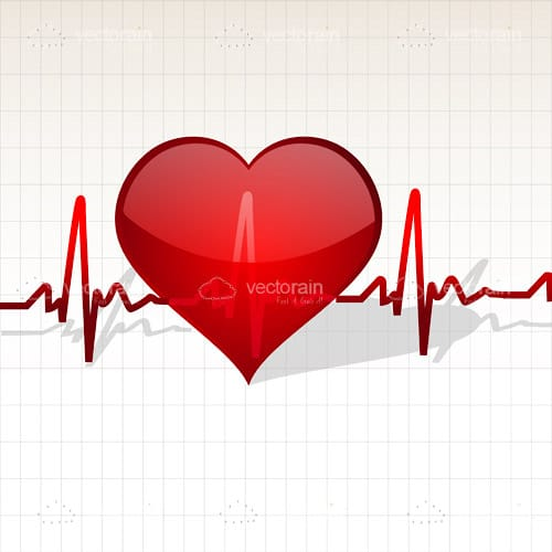 Red Heart with Heart Beat Line on Grid Background