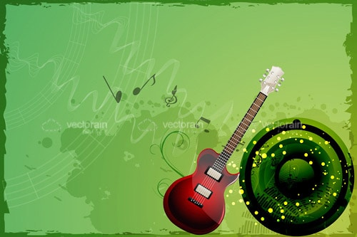 Guitar and Speaker in Grunge Style Background