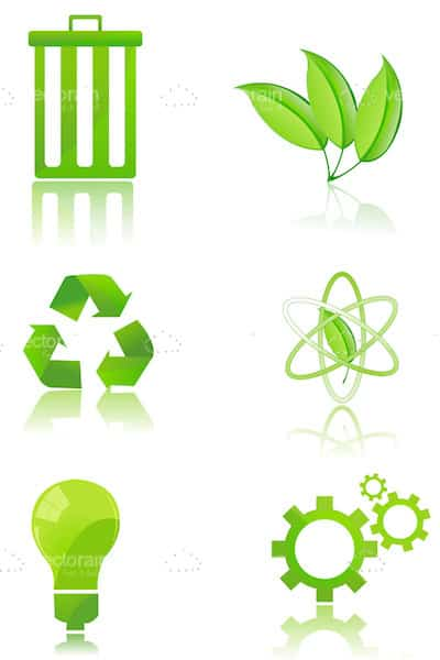 Recycling Icon Set in Green