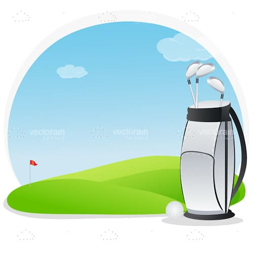 Illustrated Golf Bag and Ball on Golf Course