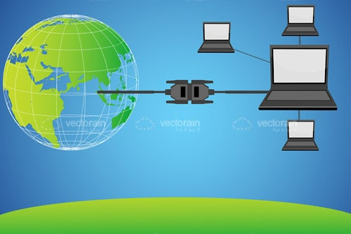 Laptops Connected to Earth Globe Through Cables