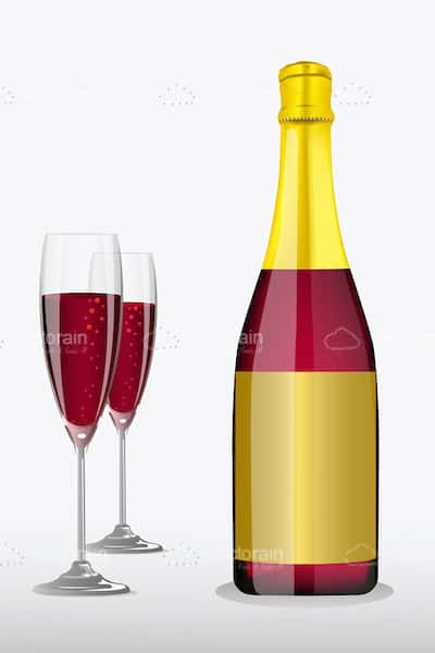 Pink Champagne Bottle with Glasses