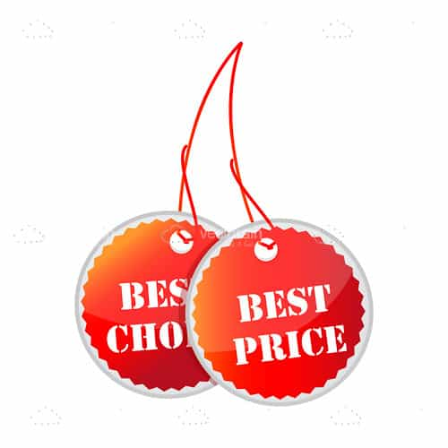 Pair of Red Best Choice and Best Price Tags