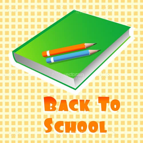 Book and Pencils with Back to School Text