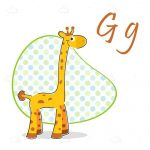 Happy Giraffe with Retro Pattern and Sample Text