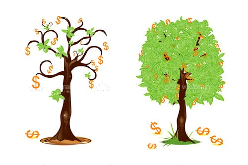 Loss and Profit Theme with Abstract Trees with Dollar Symbols