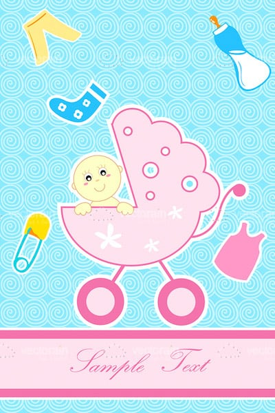 Cute Baby Girl in Pink Pram with Baby Elements and Sample Text