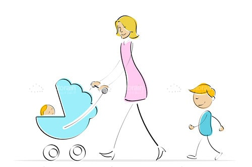 Illustrated Adult Woman with 2 Children