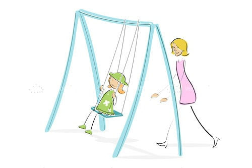 Illustrated Lady Pushing Child on a Swing