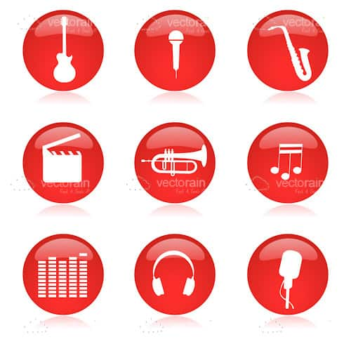 Glossy Red Music Icon Set